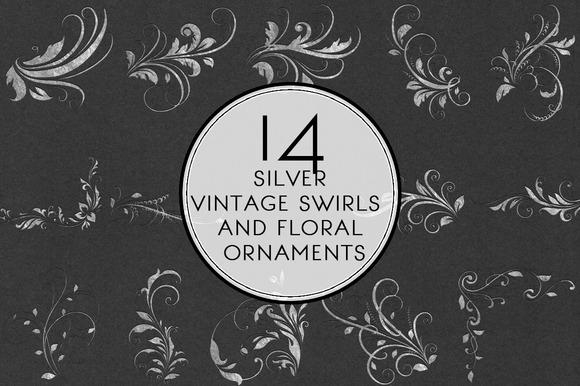 Silver Swirls Floral Ornaments
