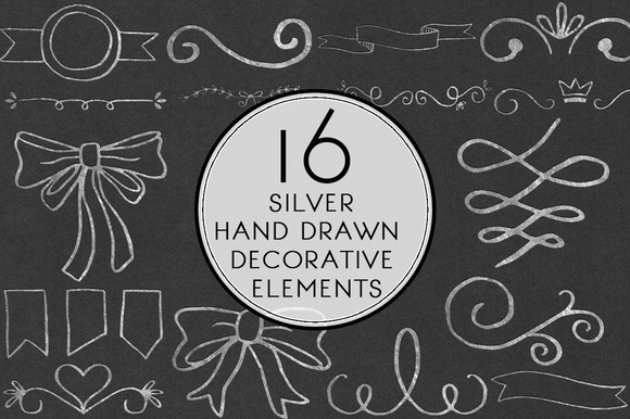 Silver Hand Drawn Decorative Element