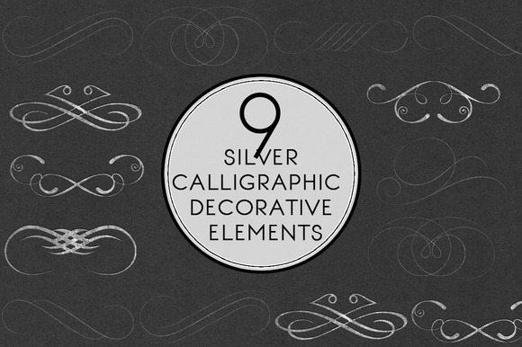 Silver Calligraphic Elements