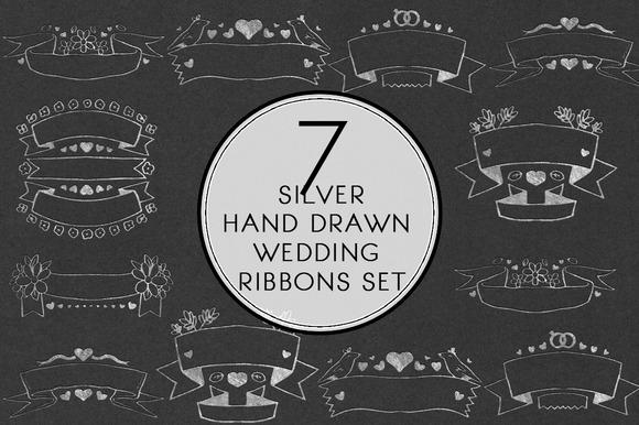 Silver Hand Drawn Wedding Ribbon Set