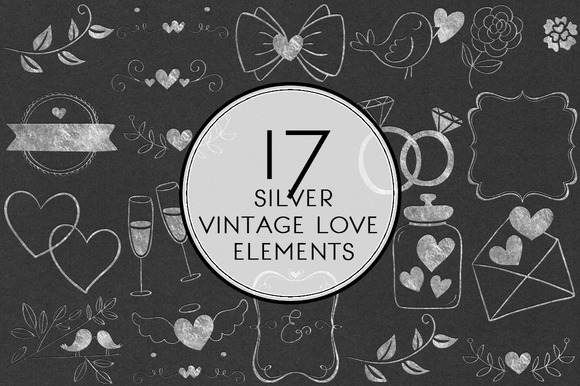 Silver Vintage Love Elements