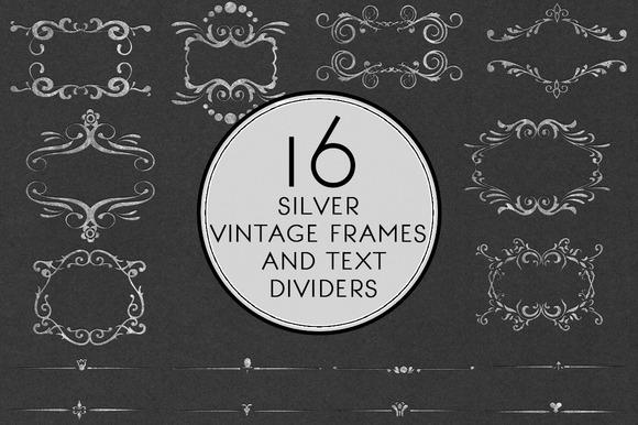 Silver Vintage Frames Text Divider