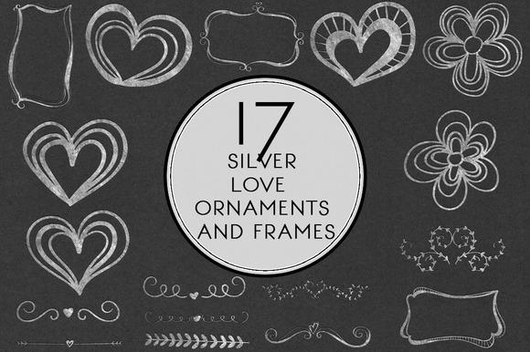 Silver Love Ornaments Frames