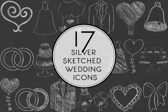 Silver Sketched Wedding Icons
