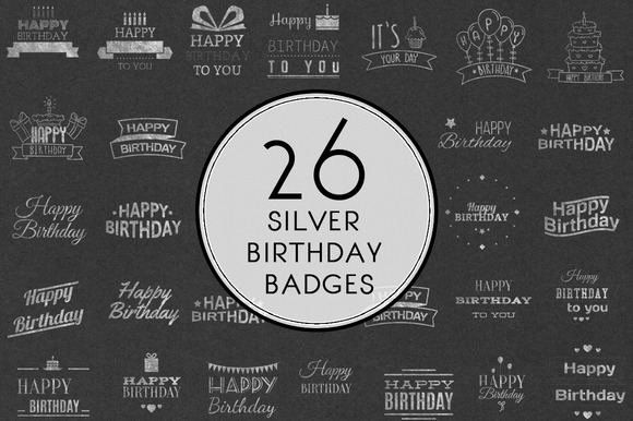 Silver Birthday Badges