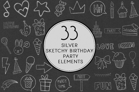 Silver Sketchy Birthday Party Set