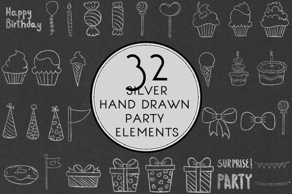 Silver Hand Drawn Party Elements