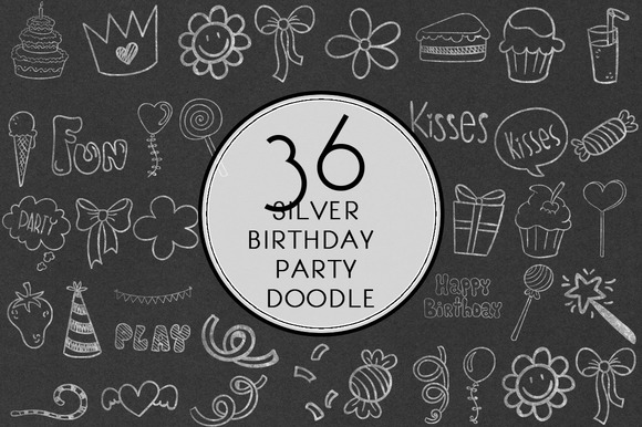 Silver Birthday Party Doodle
