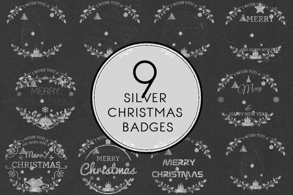 Silver Christmas Badges