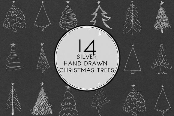 Silver Hand Drawn Christmas Trees