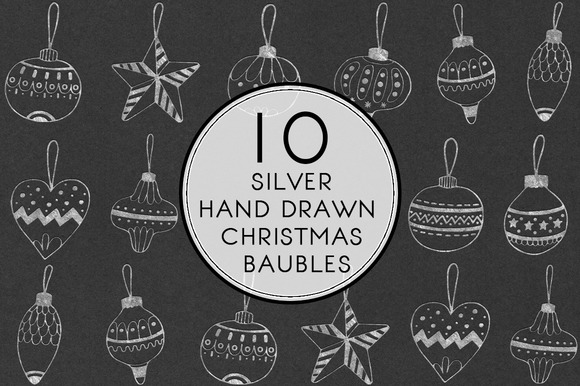 Silver Hand Drawn Christmas Baubles