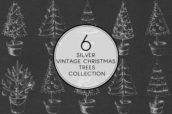Silver Vintage Christmas Trees