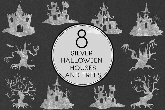 Silver Halloween Houses And Trees