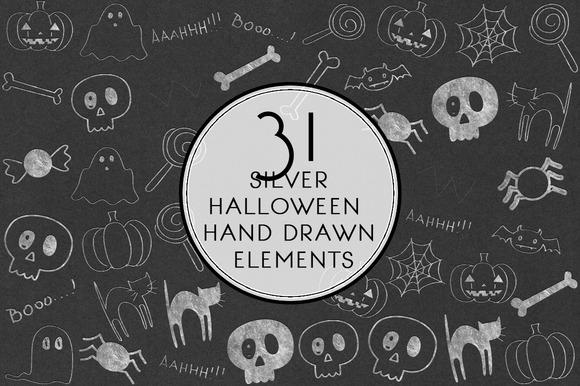 Silver Halloween Hand Drawn Elements