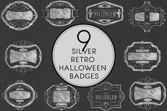 Silver Retro Halloween Labels