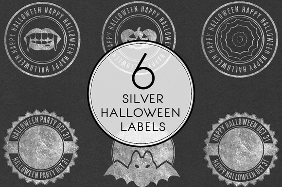 Silver Halloween Labels