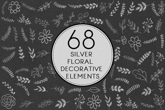 Silver Floral Decorative Elements