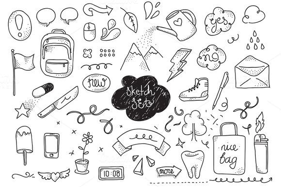 Sketch Set Hand Drawn Elements