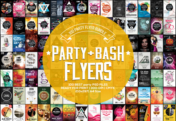 100 Party Bash Flyer Bundle