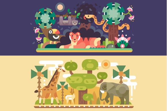 Desert And Jungle African Animals