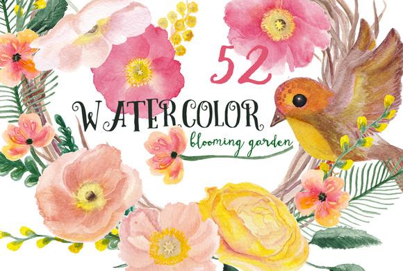 Watercolor Blooming Garden