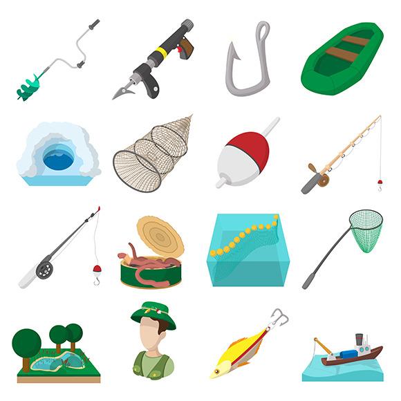 Fishing Cartoon Icons Set
