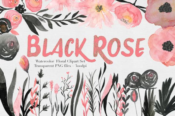 Black Pink Rose Watercolor Set