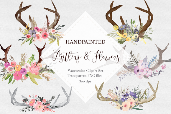 Hand Painted Antler Clipart Set