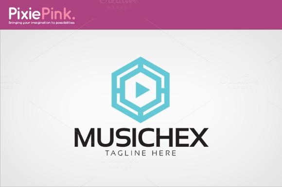 Music Hex Logo Template
