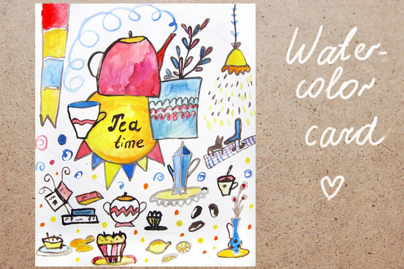 Watercolor Card For Tea Time
