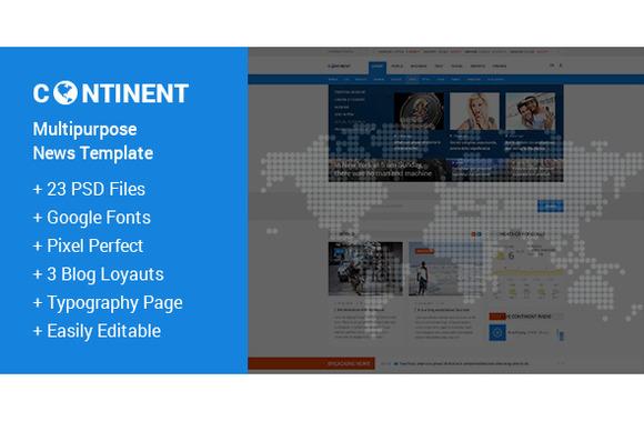 Continent News PSD Template
