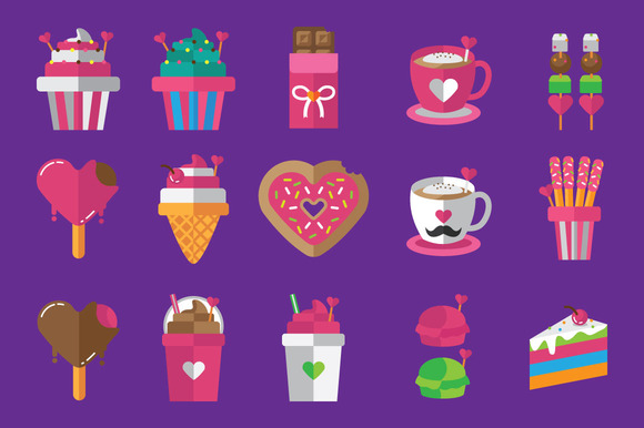 Valentine Food Icon Set