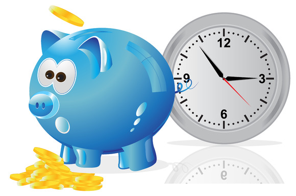 Time Money Concept Piggy Bank