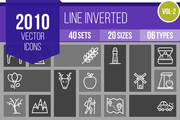 2010 Vector Line Inverted Icons