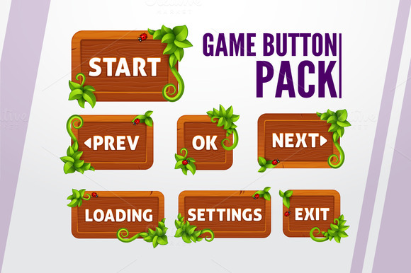 Game Buttons Pack In Wood Style