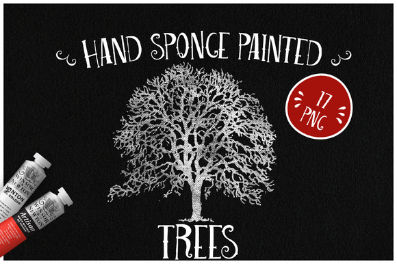 Sponge Painted Trees