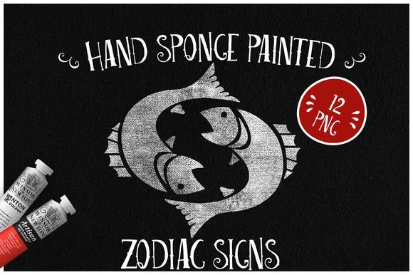Sponge Painted Zodiac Signs