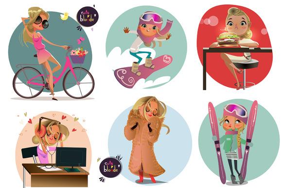 Set With Cartoon Blonde Girl-2
