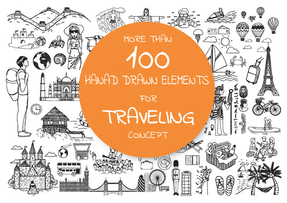 Hand Drawn Icons About Traveling