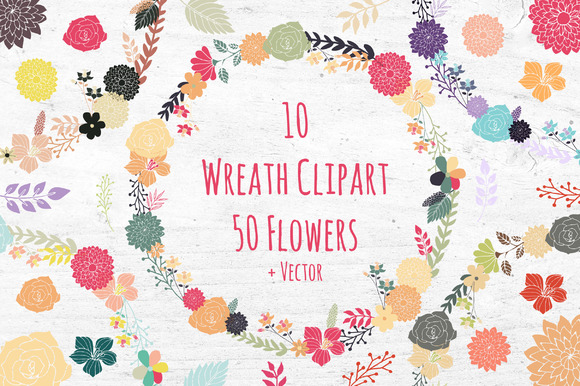 Wreath Clipart Set Flowers Florals