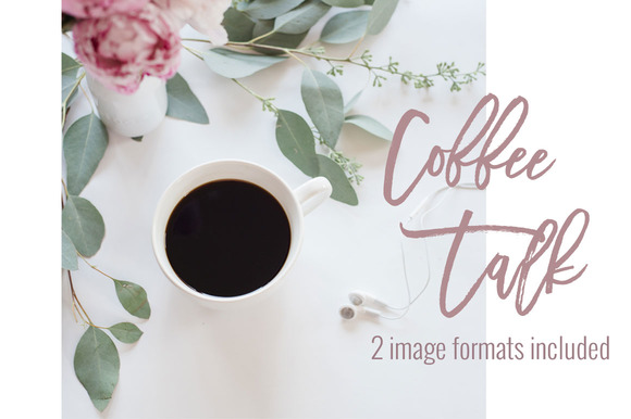 Coffee Pink Peonies Stock Images