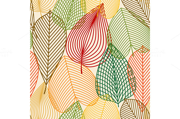 Outline Autumn Leaves Pattern