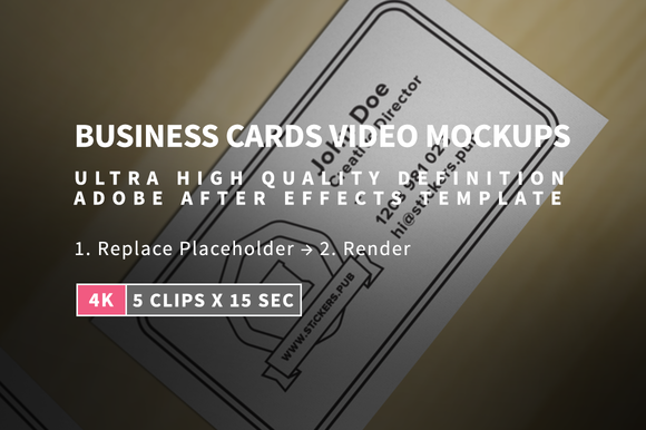 5 Business Cards Mock-Ups In 4K