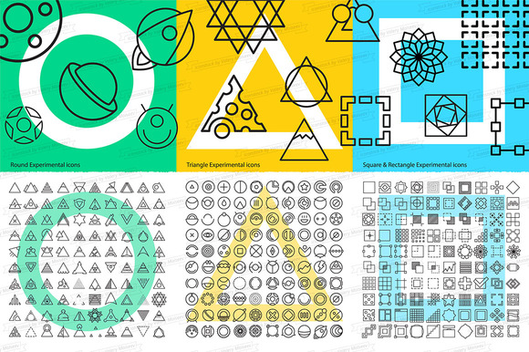 300 Geometric Thin Line Icons Set