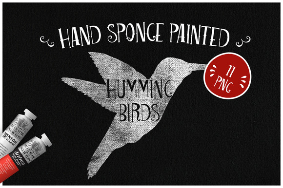 Sponge Painted Humming Birds