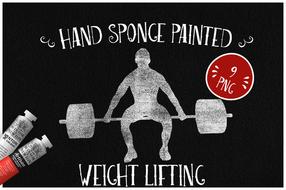 Sponge Painted Weight Lifting