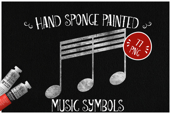Sponge Painted Music Symbols