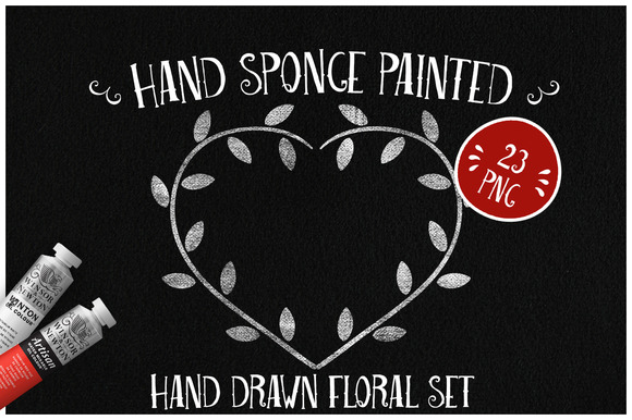 Sponge Painted Floral Set
