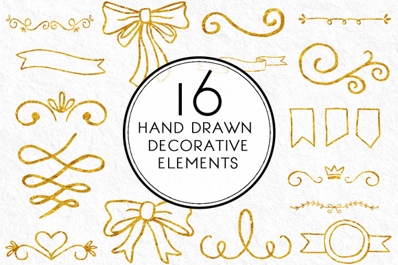 Gold Hand Drawn Decorative Elements
