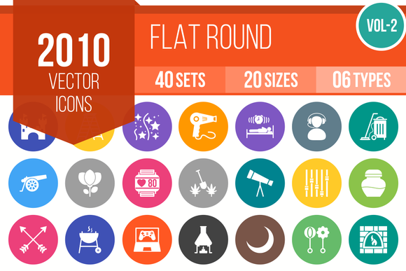 2010 Vector Flat Round Icons